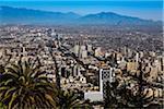 Overview of Santiago from Cerro San Cristobal, Bellavista District, Santiago, Chile