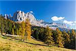Vajolet Towers and peak of Rosengarten in Autumn, Dolomites, Trentino Alto Adige, Italy
