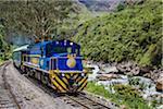 The Hiram Bingham train in the Sacred Valley near Machu Picchu, Peru