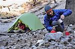 Backpacker couple camping, Mount Charleston, Nevada, USA