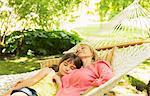 Grandmother and granddaughter sleeping in hammock