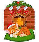 Cute little kitten with Santaâ??s Hat sleeping near Fireplace