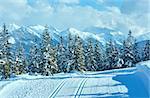 Winter mountain snowy landscape and ski slope (top of Papageno bahn - Filzmoos, Austria)