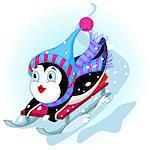 Penguin having fun in a snow cart.