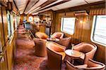 Interior of the bar car of the Hiram Bingham train, Sacred Valley of the Incas, Peru