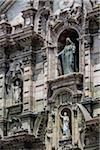 Close-up of Sculptures above Portada del Perdon, Cathedral of Lima, Plaza de Armas, Lima, Peru