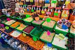 Bins and Jars of Dry Goods at Market, Oaxaca de Juarez, Oaxaca, Mexico