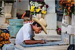 Man Maintaining Tombstone at San Miguel Cemetery, Day of the Dead Festival, Oaxaca de Juarez, Oaxaca, Mexico
