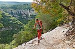 Woman hiking Canyon du Verdon, Provence, France