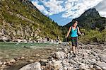Woman hiking along the Verdon Canyon, Provence, France