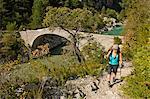 Woman hiking, Canyon du Verdon, Provence, France