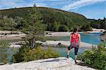 Female hiker admiring view, Canyon du Verdon, Provence, France