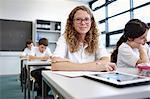Portrait of schoolgirl in classroom