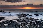 Dawn breaks over the Indian Ocean, Kwazulu Natal Province, South Africa