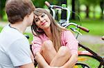 Young couple on a bench, falling in love, Osijek, Croatia