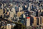 View of Santiago city from Cerro San Cristóbal (San Cristobal Hill), Bellavista District, Santiago, Chile