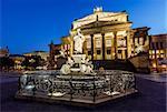 Friedrich Schiller Sculpture and Concert Hall on Gendarmenmarkt Square at Night, Berlin, Germany