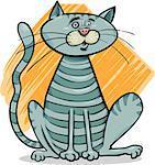 Cartoon Drawing Illustration of Sitting Gray Tabby Cat