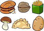 Cartoon Illustration of Food Objects Clip Art Set