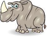 Cartoon Illustration of Cute Rhinoceros or Rhyno Animal