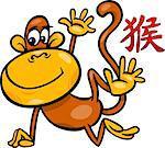 Cartoon Illustration of Monkey Chinese Horoscope Zodiac Sign