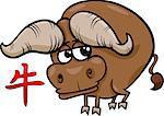 Cartoon Illustration of Ox Chinese Horoscope Zodiac Sign