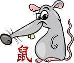 Cartoon Illustration of Rat Chinese Horoscope Zodiac Sign
