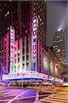 Radio City Music Hall illuminated at night, Rockefeller Center, Midtown, Manhattan, New York City, New York, USA