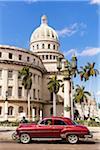 Red Vintage Car in front of El Capitolio, Havana, Cuba