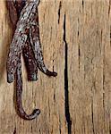 Bourbon vanilla beans isolated on old wooden background