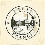 Grunge rubber stamp with Paris, France - vector illustration