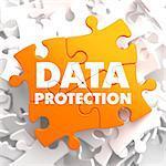 Data Protection on Orange Puzzle on White Background.