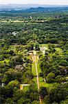 Birds eye view of the Royal Gardens at Sigiriya Rock Fortress (Lion Rock), Sri Lanka, Asia