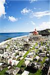 Cemetery on a cliff above ocean