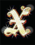 Bling alphabet X