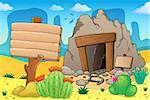 Desert with old mine theme 7 - eps10 vector illustration.