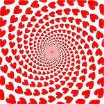 Design red heart spiral motion backdrop. Valentines Day card. Vector-art illustration