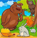 Cartoon Illustration of Cute Forest Wild Animals
