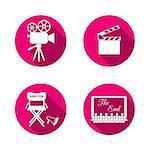 Red flat design retro movie icons on white