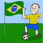 Cartoon illustration showing a Brazilian soccer player waving