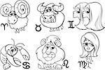 Black and White Cartoon Illustration of Horoscope Zodiac Signs Set