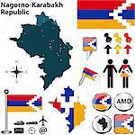Vector map of Nagorno-Karabakh Republic on white background