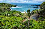 Pailoa beach at the Waianapanapa State Park along the road to Hana, Maui, Hawaii, United States of America, Pacific