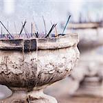 Incense at Sri Maha Bodhi, Mahavihara (The Great Monastery), Anuradhapura, Sri Lanka, Asia