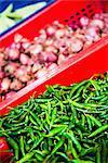 Dambulla produce market, chillies and onions for sale at Dambulla market, Dambulla, Central Province, Sri Lanka, Asia