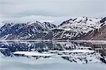 Reflected waters off Kapp Fanshawe, Spitsbergen, Svalbard, Norway, Scandinavia, Europe