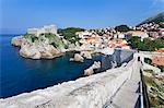 City wall and Fortress Bokar, Old Town, UNESCO World Heritage Site, Dubrovnik, Dalmatia, Croatia, Europe