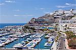 High angle view of Puerto Rico and marina, Gran Canaria, Canary Islands, Spain, Atlantic, Europe