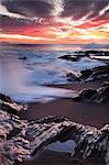 Sunset at the beach Puerto de la Pena Ajuy, Fuerteventura, Canary Islands, Spain, Atlantic, Europe