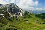 View of Hammerspitze from Kanzelwand, Kleines Walsertal, Austria, Europe